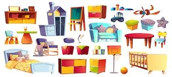 Großer Satz Holzmöbel, weiche Spielwaren und Zubehör für Kinderraum, Schlafzimmerkarikatur