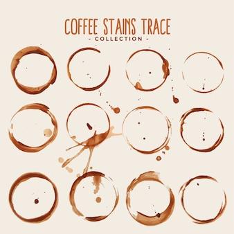Großer satz kaffeefleckenspurentextur