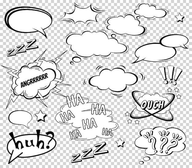 Großer satz karikatur, komische spracheblasen, leere dialog-wolken im pop art style