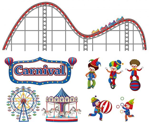 Großer satz karnevalseinzelteile und -clowns auf weiß