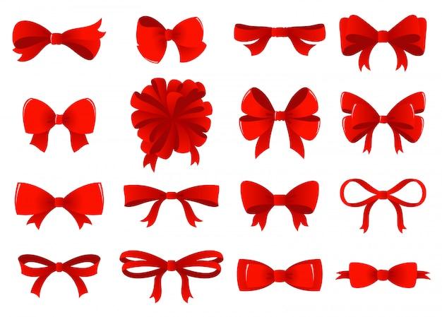 Großer satz rote geschenkbögen mit bändern