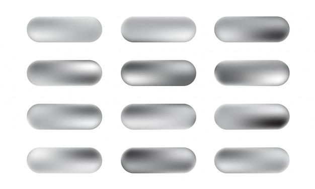 Großer satz silberfolien-texturknöpfe. silbrig elegante, glänzende und metallische farbverlaufskollektion