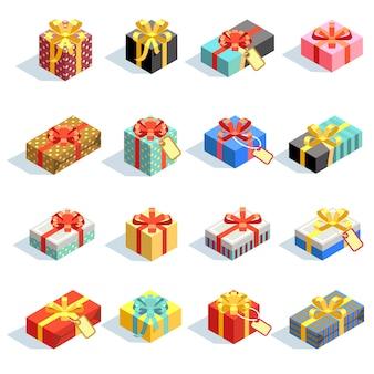 Großer satz verschiedene farbige giftboxes 3d mit den bändern lokalisiert. farbgeschenkbox für geburtstags- und weihnachtsüberraschung