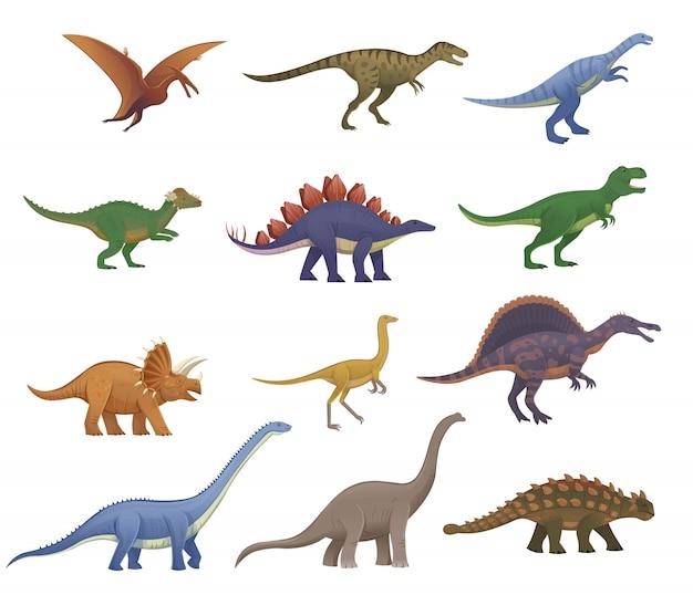 Großer satz von cartoon-dinosauriern. pterodactylus, ankylosaurus, stegosaurus, pachycephalosaurus, spinosaurus, tyrannosaurus, tarbosaurus, triceratops, gallimimus, amphicoelien, diplodocus, plateosaurus