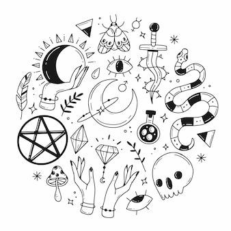 Großer satz von elementen des magischen esoterischen gekritzels in form eines kreises