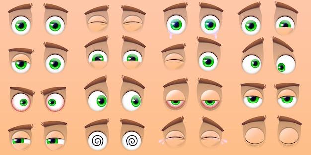 Großer satz von emoticons und cartoonaugen