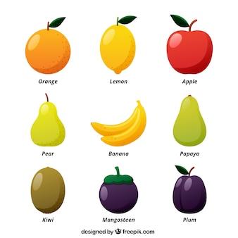 Großer satz von farbigen früchten in flachem design