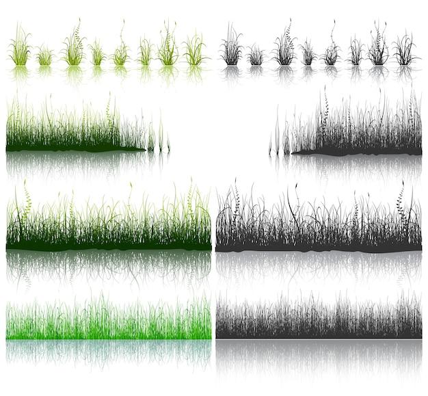 Großer satz von grünem und schwarzem gras lokalisiert auf weißem hintergrund.