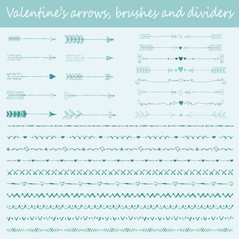 Großer satz von hand gezeichneten pinseln, pfeilen und textteilern des valentinsgrußes für die gestaltung von grußkarten
