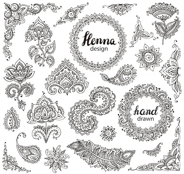 Großer satz von henna-blumenelementen und -rahmen