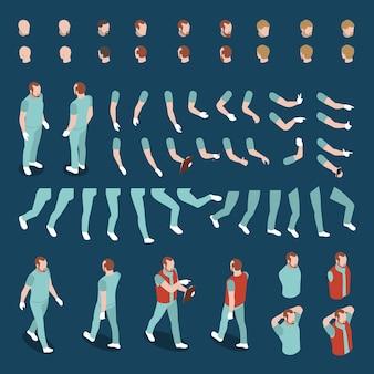 Großer satz von isometrischen köpfen arme beine beine körper für männliche charakter konstruktor 3d isolierte illustration
