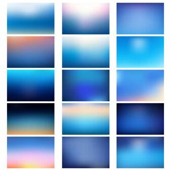 Grosser satz von unscharfen natürlichen blauen hintergründen. verschwommener blauer hintergrund