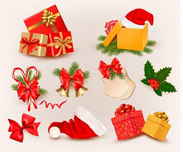 Großer satz von weihnachtsikonen und -objekten.