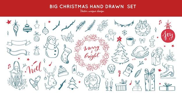 Großer satz weihnachtsdesign-gekritzelelemente mit frohe weihnachten und neujahrsbeschriftung
