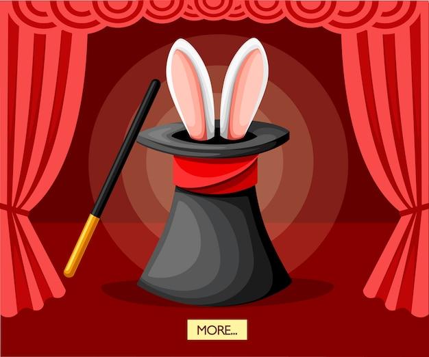 Großer schwarzer magischer hut mit hasenohren. rote vorhänge auf der bühne. zauberstab. illustration auf rotem hintergrund
