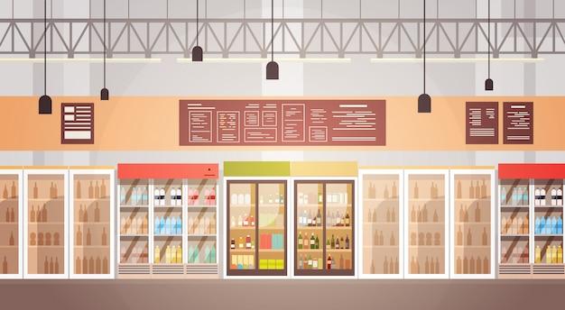 Großer shop-supermarkt-einkaufszentrum-innenraum