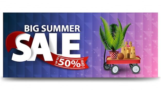 Großer sommerschlussverkauf, horizontale rabattnetz-fahnenschablone