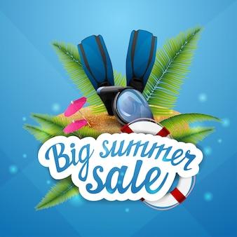 Großer sommerschlussverkauf, rabatt, anklickbares web-banner-layout für ihre kreativität