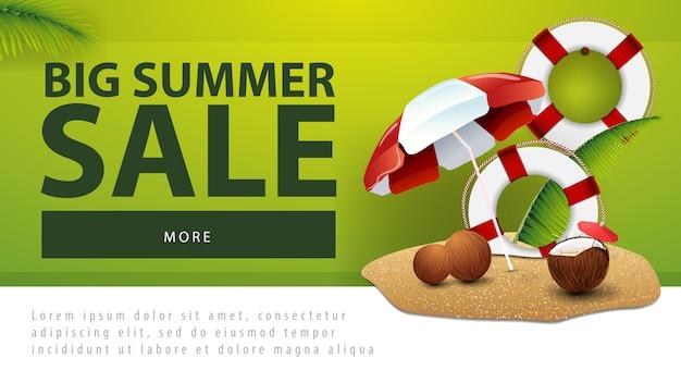 Großer sommerschlussverkauf, rabattnetzfahne mit kokosnusscocktail