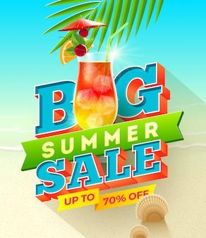 Großer sommerschlussverkauf - sommerferienillustration mit exotischem cocktailglas.