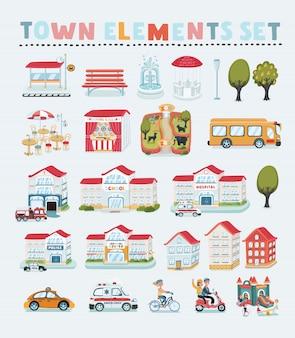 Großer stadtplanersteller. hausbauer. haus, café, restaurant, geschäft, infrastruktur, industrie, verkehr, dorf und landschaft. mach deine perfekte stadt. illustration