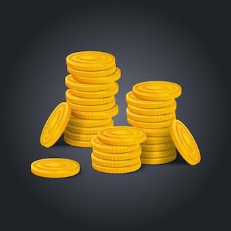 Großer stapel goldener münzen auf schwarzem hintergrund. bunte glänzende haufen geld geld realistische spielanlage. vektorgrafik auf lager