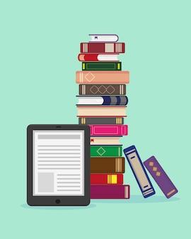 Großer stapel von büchern und e-book auf blauem hintergrund