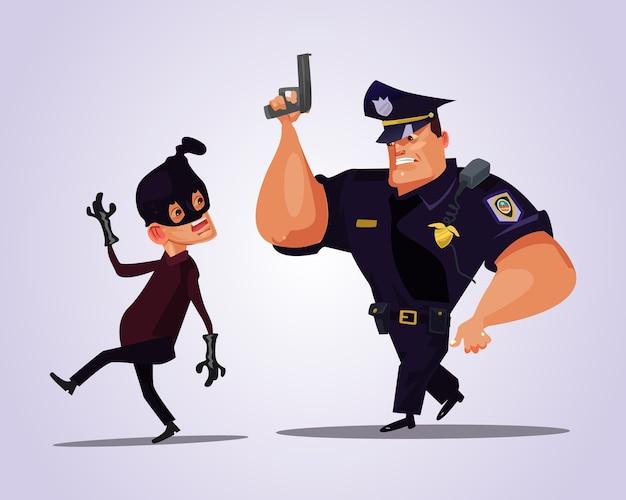 Großer starker polizistcharakter, der banditen jagt.