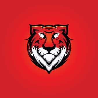 Großer tiger head mascot mit rotem hintergrund