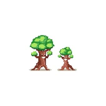 Großer und kleiner baumcharakter des pixels
