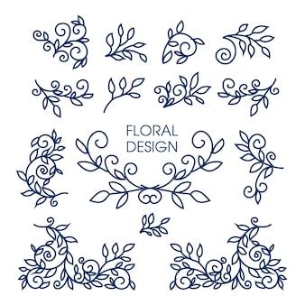 Großer vektorsatz der linie blumenmusterelemente für logos