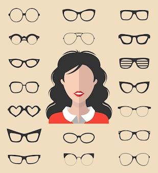 Großer vektorsatz des anziehkonstruktors mit verschiedenen frauenbrillen im trendigen flachen stil. frau in der sonnenbrille steht dem symbolschöpfer gegenüber.