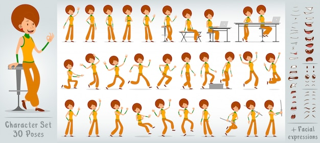 Großer vektorsatz des flachen discomädchen-charakters der karikatur
