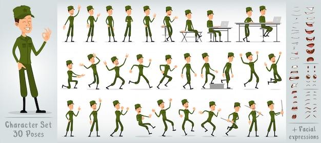 Großer vektorsatz des flachen soldatjungen-charakters der karikatur