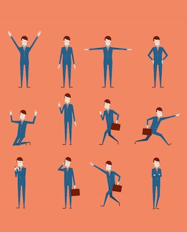 Großer vektorsatz geschäftsmanncharakterhaltungen, -gesten und -aktionen. professionelle stellung des büroangestellten, gehen, gespräch am telefon, arbeiten, laufen, freude, suchen und mehr.