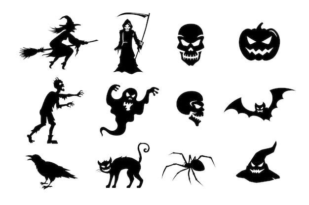 Großer vektorsatz schwarzer silhouetten von monstern und kreaturen für halloween-hexe-zombie-kürbis