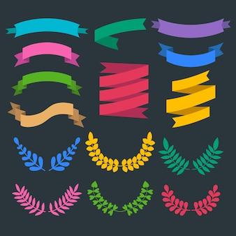 Großer vektorsatz von farbkränzen, lorbeeren und bändern im flachen stil.