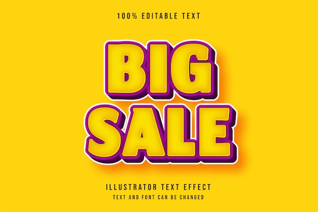 Großer verkauf, 3d bearbeitbarer texteffekt moderner gelber lila comic-textstil