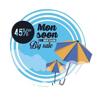Großer verkauf des monsuns und rabattikonenvektor-illustrationsgrafikdesign