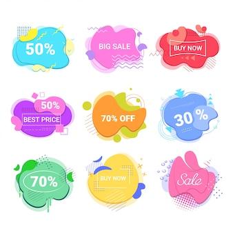 Großer verkauf jetzt kaufen aufkleber set sonderangebot shopping rabatt abzeichen flüssige farbe abstrakte banner mit fließenden flüssigen formen