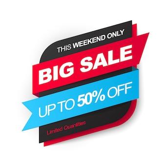 Großer verkauf. sparen sie bis zu 50%. schwarzes und rotes design. illustration.