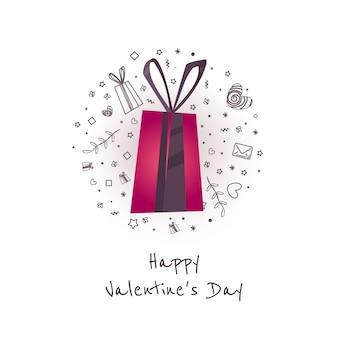 Großer verkauf von valentinstag. kreativer flieger mit glücklichem valentinstag des textes mit liebe, geschenkikonen