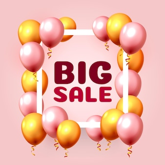 Großer verkaufsballonmarktrahmen auf dem rosa hintergrund. vektor-illustration