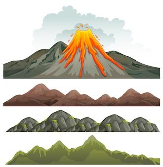 Großer vulkan und felsige landschaft
