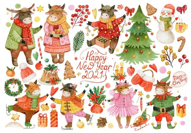 Großer weihnachtssatz von aquarellbullen, winterkleidung, keksen, cupcake, weihnachtsbaum, mandarinen, kerzen, schneemann, tannenzapfen