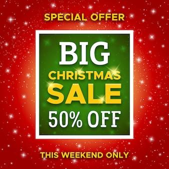 Großer weihnachtsverkauf promo-banner. vektor vorlage