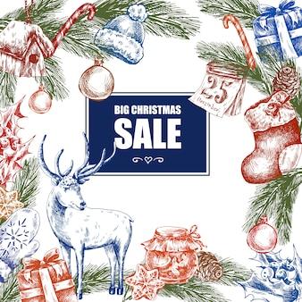 Großer weihnachtsverkauf, weinlesevektorillustration