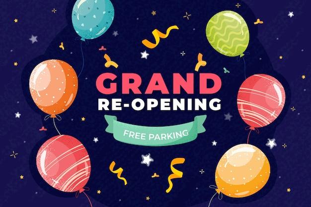 Großer wiedereröffnungshintergrund mit luftballons und konfetti