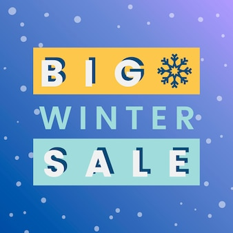 Großer winterschlussverkauf-ausweisvektor