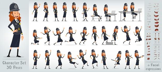 Großer zeichensatz des flachen englischen polizeimädchens der karikatur